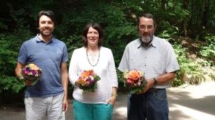 Das Kollegium gratuliert Pascal Krüger und Elisabeth Steffel zur Ernennung zum OStR und Günter Hautschek zum 40. Dienstjubiläum.