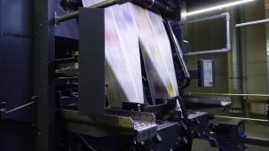 20.03.2018: Der Papierstrom macht 13,6 m/s in der Rotationsdruckerpresse des Druckzentrums Hohenlohe-Ostalb